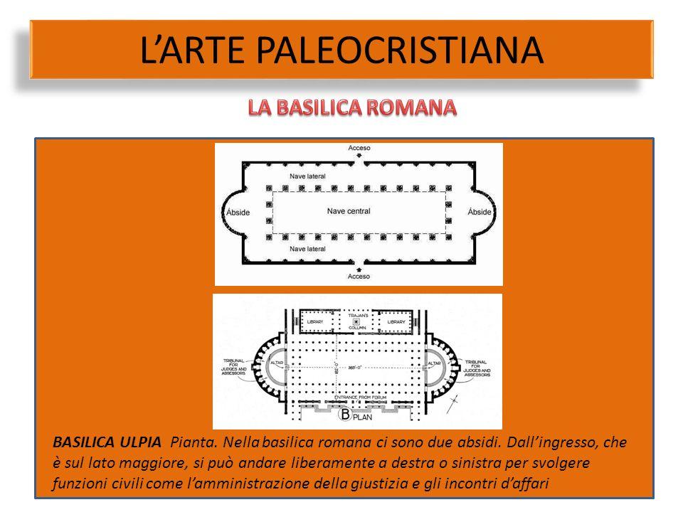L'ARTE PALEOCRISTIANA BASILICA ULPIA Pianta. Nella basilica romana ci sono due absidi. Dall'ingresso, che è sul lato maggiore, si può andare liberamen