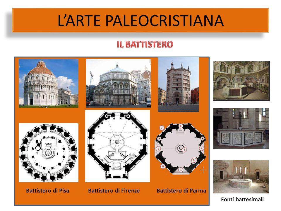 L'ARTE PALEOCRISTIANA Battistero di PisaBattistero di FirenzeBattistero di Parma Fonti battesimali