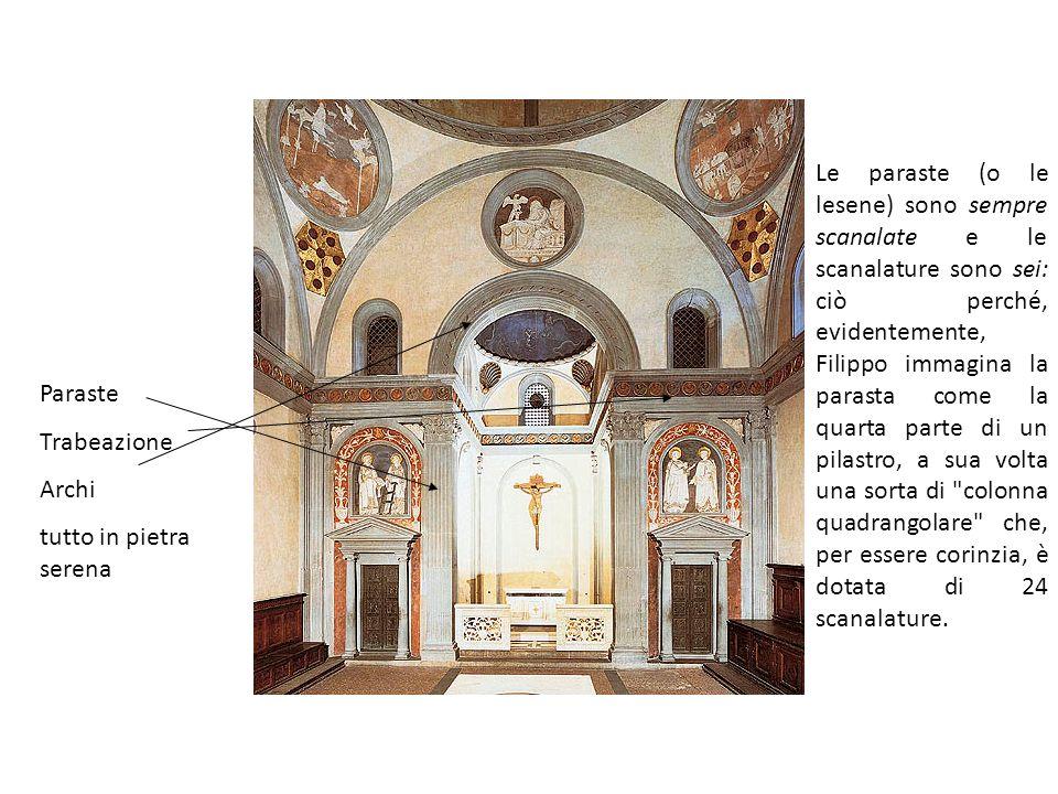 Paraste Trabeazione Archi tutto in pietra serena Le paraste (o le lesene) sono sempre scanalate e le scanalature sono sei: ciò perché, evidentemente,