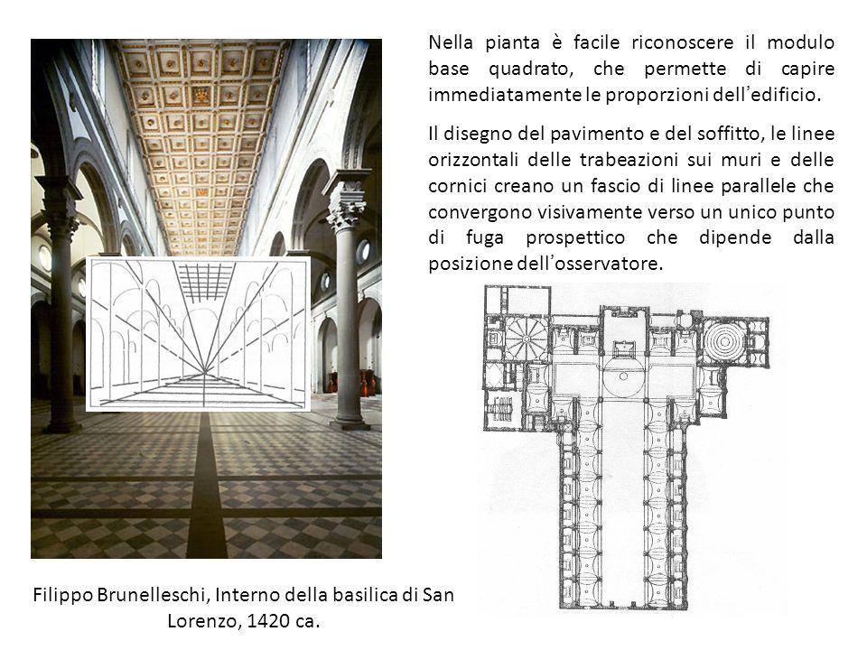 Filippo Brunelleschi, Interno della basilica di San Lorenzo, 1420 ca. Nella pianta è facile riconoscere il modulo base quadrato, che permette di capir
