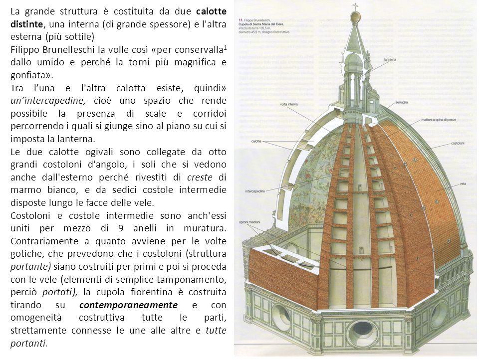 La grande struttura è costituita da due calotte distinte, una interna (di grande spessore) e l altra esterna (più sottile) Filippo Brunelleschi la volle così «per conservalla 1 dallo umido e perché la torni più magnifica e gonfiata».