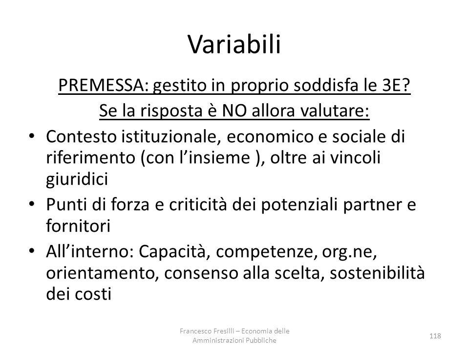Variabili PREMESSA: gestito in proprio soddisfa le 3E.