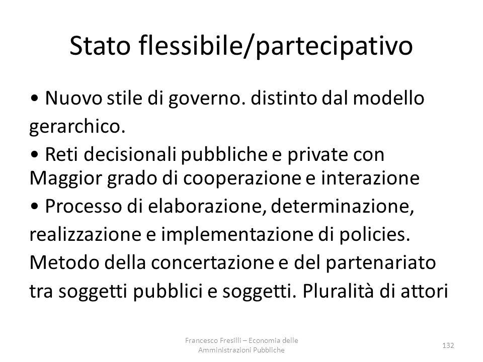 Stato flessibile/partecipativo Nuovo stile di governo.