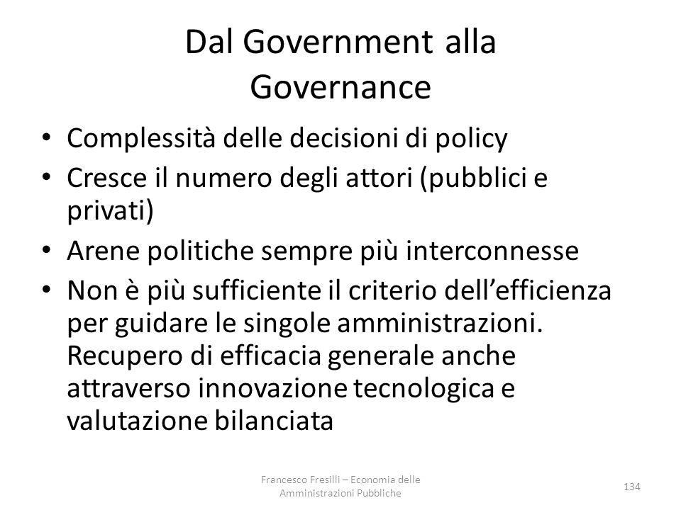 Dal Government alla Governance Complessità delle decisioni di policy Cresce il numero degli attori (pubblici e privati) Arene politiche sempre più interconnesse Non è più sufficiente il criterio dell'efficienza per guidare le singole amministrazioni.