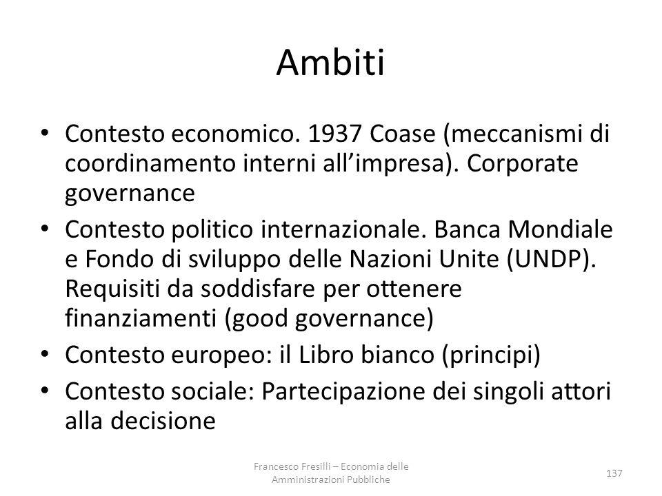 Ambiti Contesto economico.1937 Coase (meccanismi di coordinamento interni all'impresa).