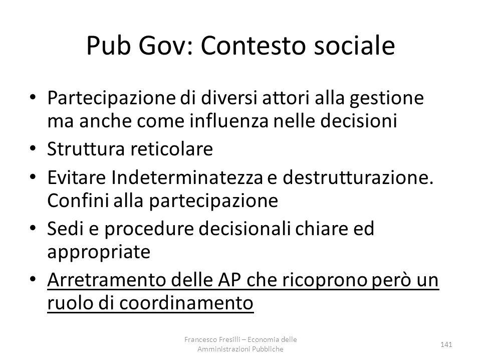 Pub Gov: Contesto sociale Partecipazione di diversi attori alla gestione ma anche come influenza nelle decisioni Struttura reticolare Evitare Indeterminatezza e destrutturazione.