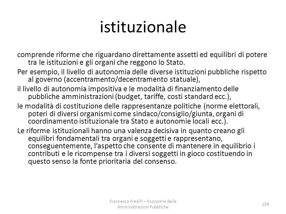 istituzionale comprende riforme che riguardano direttamente assetti ed equilibri di potere tra le istituzioni e gli organi che reggono lo Stato.
