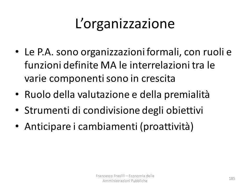 L'organizzazione Le P.A.