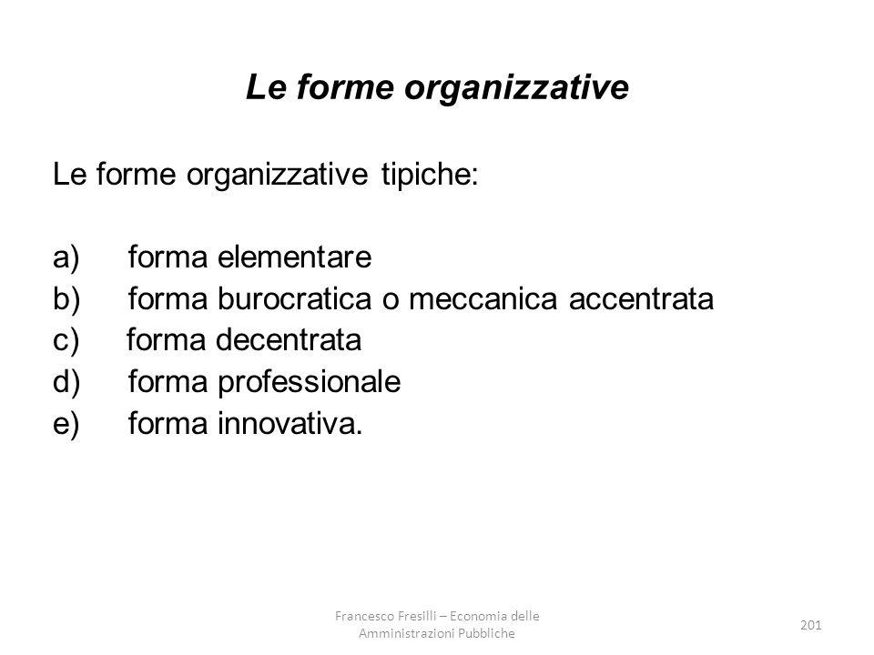 201 Le forme organizzative Le forme organizzative tipiche: a) forma elementare b) forma burocratica o meccanica accentrata c) forma decentrata d) forma professionale e) forma innovativa.