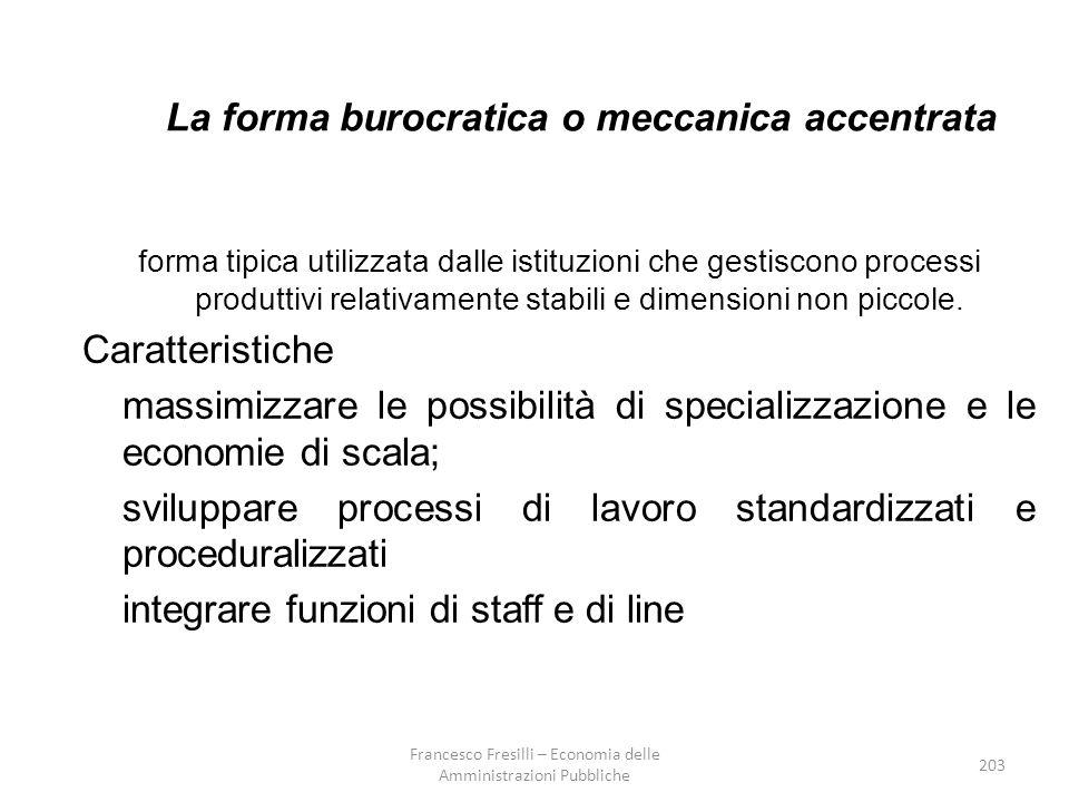 203 La forma burocratica o meccanica accentrata forma tipica utilizzata dalle istituzioni che gestiscono processi produttivi relativamente stabili e dimensioni non piccole.