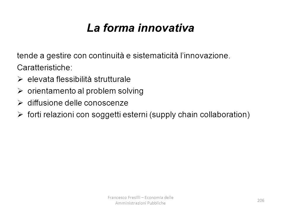 206 La forma innovativa tende a gestire con continuità e sistematicità l'innovazione.