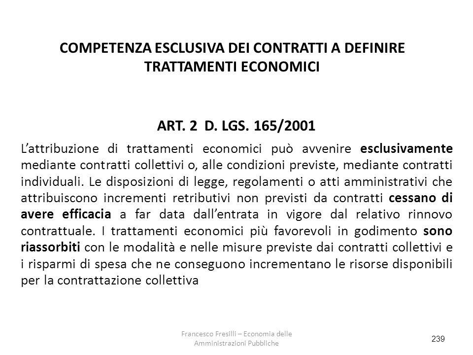 239 COMPETENZA ESCLUSIVA DEI CONTRATTI A DEFINIRE TRATTAMENTI ECONOMICI ART.