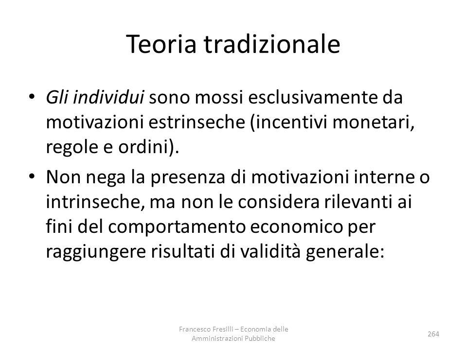Teoria tradizionale Gli individui sono mossi esclusivamente da motivazioni estrinseche (incentivi monetari, regole e ordini).