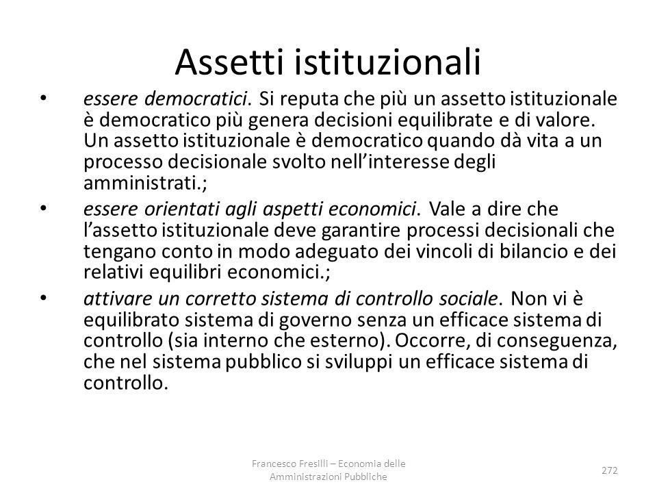 Assetti istituzionali essere democratici.