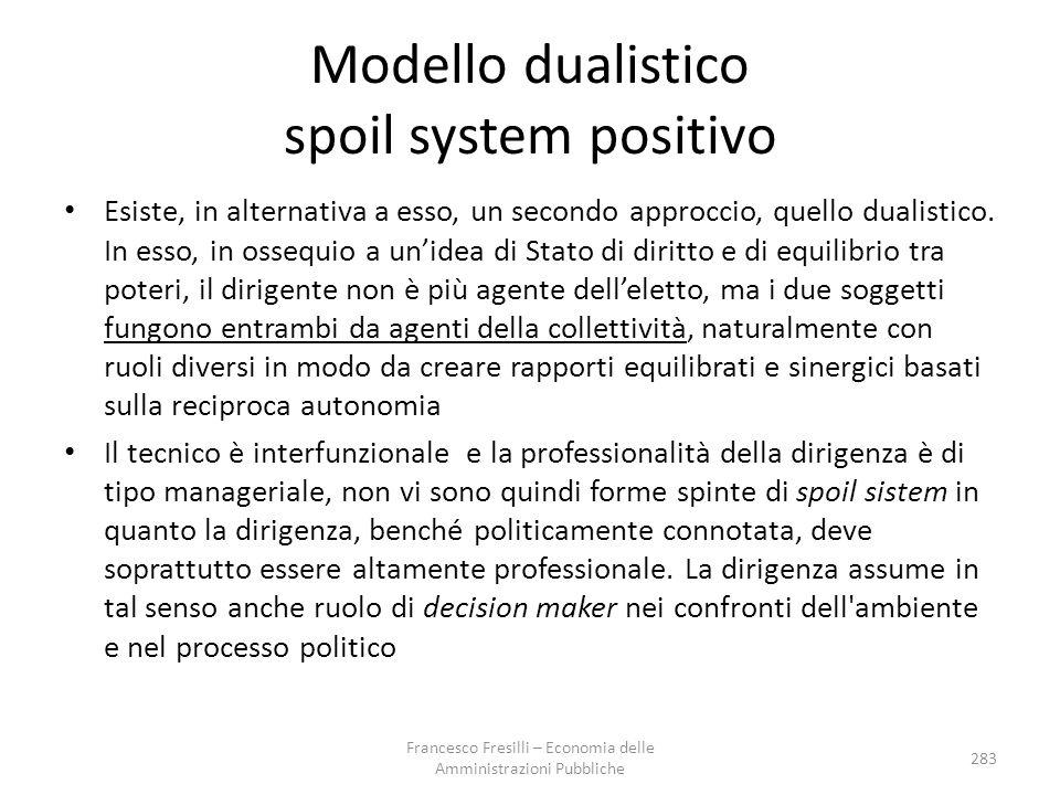Modello dualistico spoil system positivo Esiste, in alternativa a esso, un secondo approccio, quello dualistico.