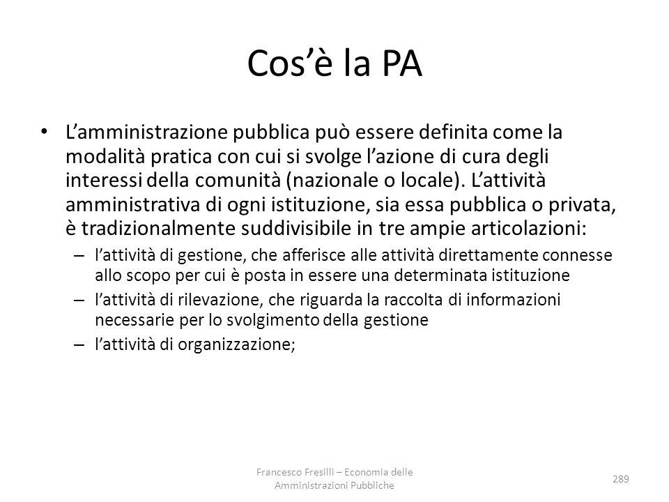 Cos'è la PA L'amministrazione pubblica può essere definita come la modalità pratica con cui si svolge l'azione di cura degli interessi della comunità (nazionale o locale).