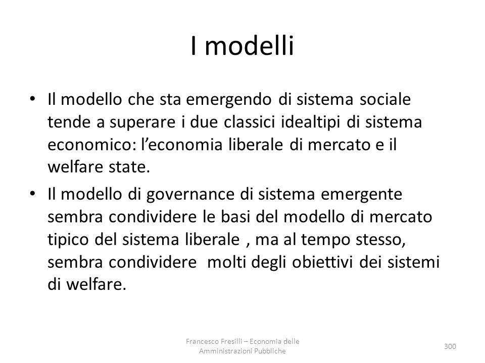 I modelli Il modello che sta emergendo di sistema sociale tende a superare i due classici idealtipi di sistema economico: l'economia liberale di mercato e il welfare state.
