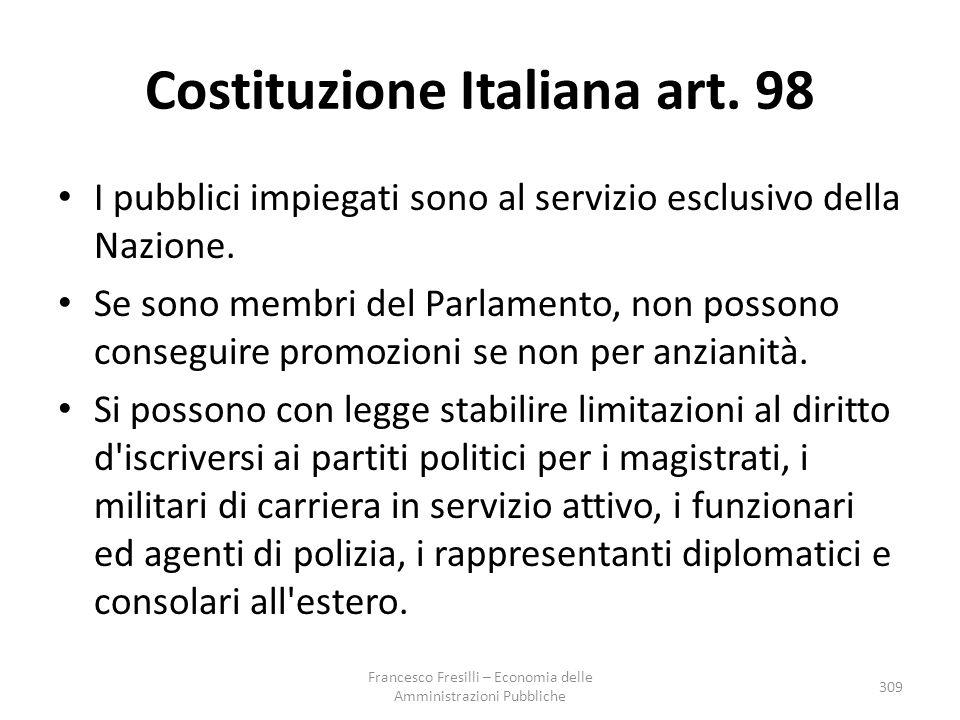 Costituzione Italiana art.98 I pubblici impiegati sono al servizio esclusivo della Nazione.