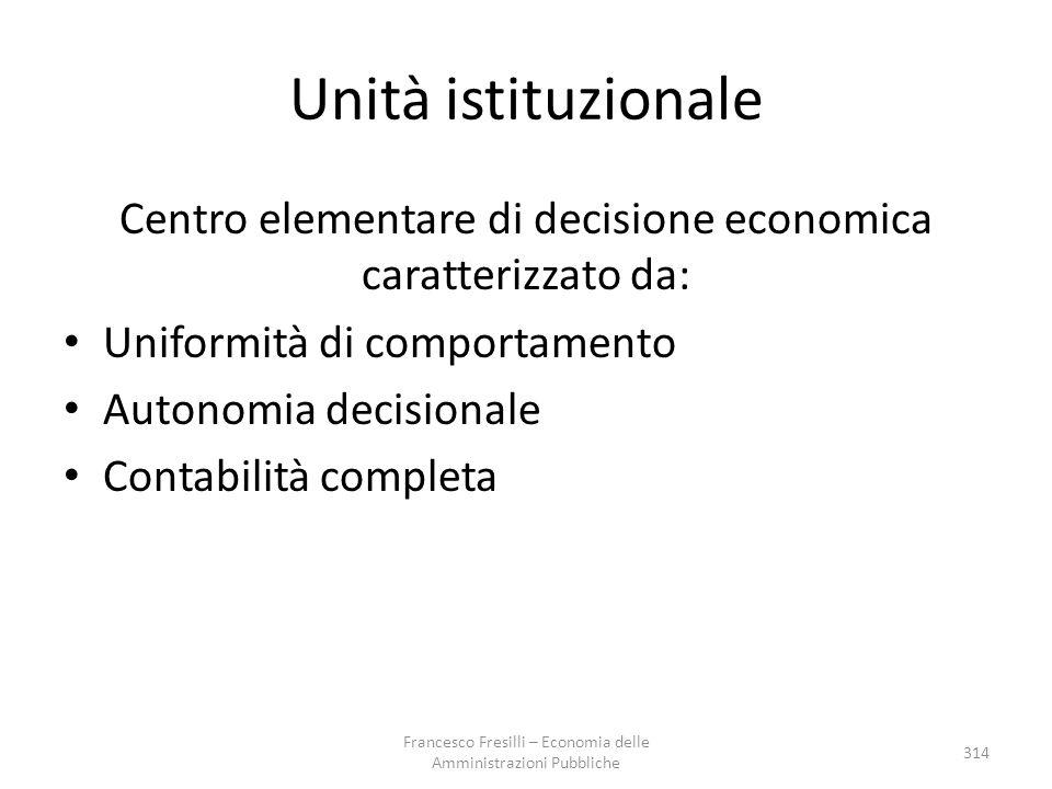 Unità istituzionale Centro elementare di decisione economica caratterizzato da: Uniformità di comportamento Autonomia decisionale Contabilità completa 314 Francesco Fresilli – Economia delle Amministrazioni Pubbliche