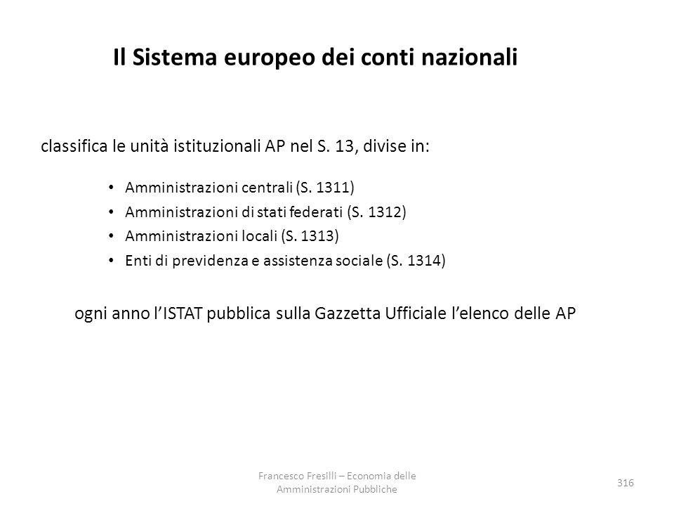 Il Sistema europeo dei conti nazionali classifica le unità istituzionali AP nel S.