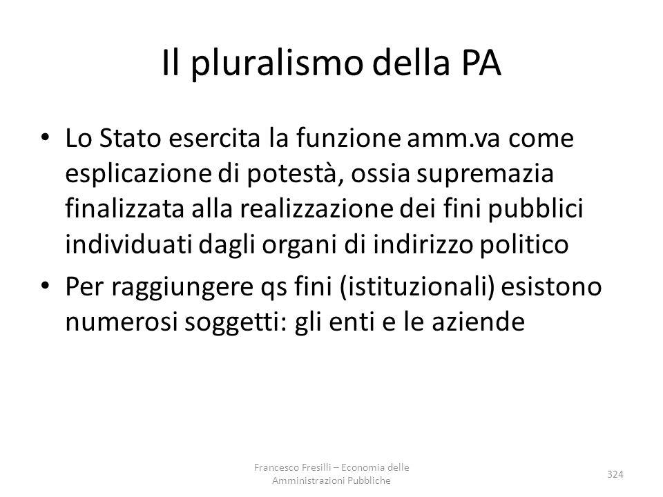 Il pluralismo della PA Lo Stato esercita la funzione amm.va come esplicazione di potestà, ossia supremazia finalizzata alla realizzazione dei fini pub