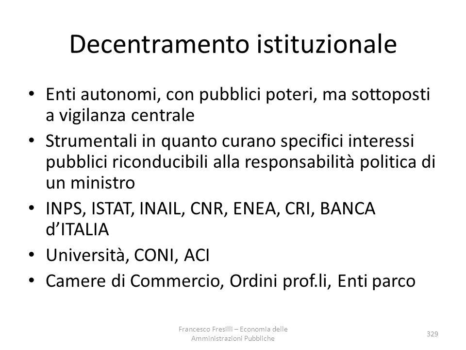 Decentramento istituzionale Enti autonomi, con pubblici poteri, ma sottoposti a vigilanza centrale Strumentali in quanto curano specifici interessi pu