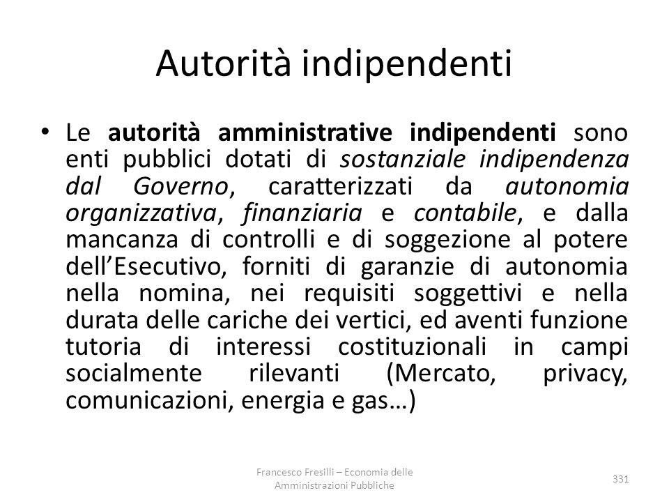 Autorità indipendenti Le autorità amministrative indipendenti sono enti pubblici dotati di sostanziale indipendenza dal Governo, caratterizzati da aut