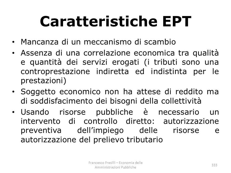333 Caratteristiche EPT Mancanza di un meccanismo di scambio Assenza di una correlazione economica tra qualità e quantità dei servizi erogati (i tribu