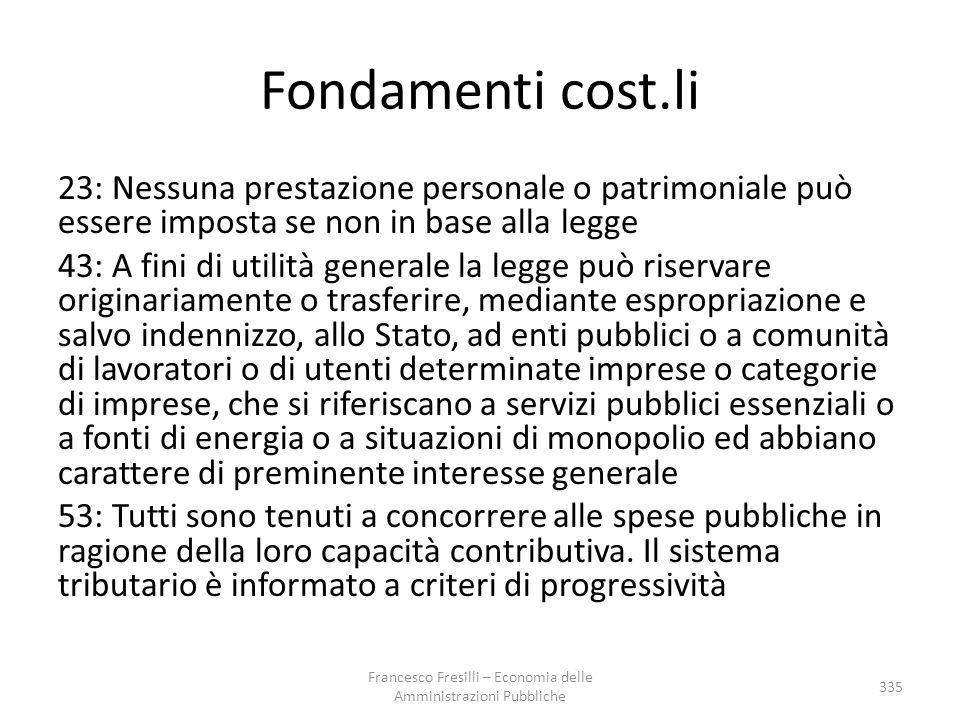 Fondamenti cost.li 23: Nessuna prestazione personale o patrimoniale può essere imposta se non in base alla legge 43: A fini di utilità generale la leg