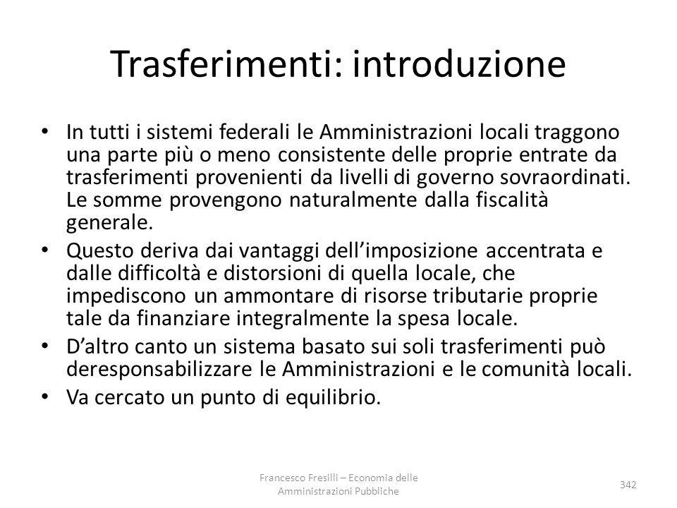 Trasferimenti: introduzione In tutti i sistemi federali le Amministrazioni locali traggono una parte più o meno consistente delle proprie entrate da t