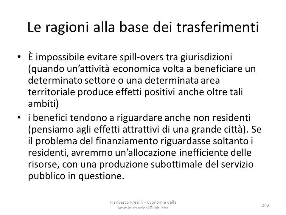 Le ragioni alla base dei trasferimenti È impossibile evitare spill-overs tra giurisdizioni (quando un'attività economica volta a beneficiare un determ