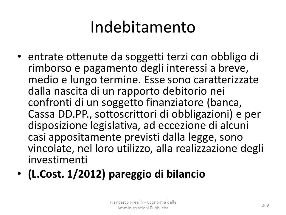 Indebitamento entrate ottenute da soggetti terzi con obbligo di rimborso e pagamento degli interessi a breve, medio e lungo termine. Esse sono caratte