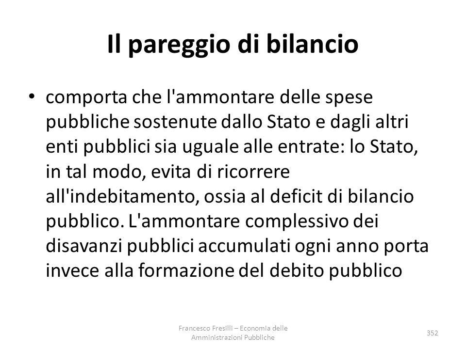 Il pareggio di bilancio comporta che l'ammontare delle spese pubbliche sostenute dallo Stato e dagli altri enti pubblici sia uguale alle entrate: lo S