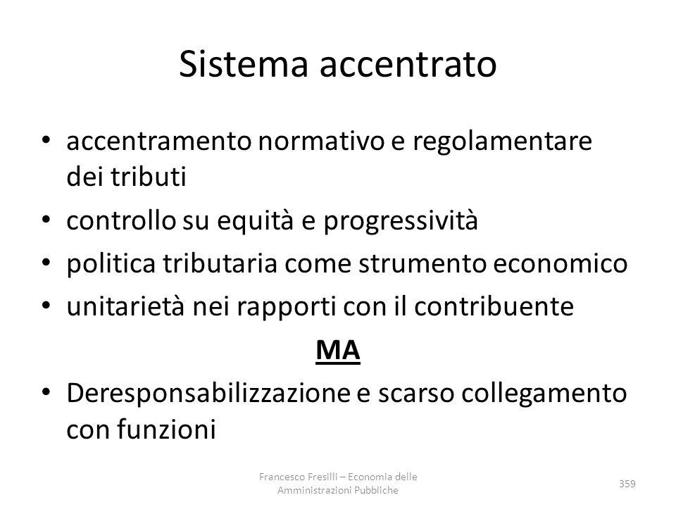 Sistema accentrato accentramento normativo e regolamentare dei tributi controllo su equità e progressività politica tributaria come strumento economic