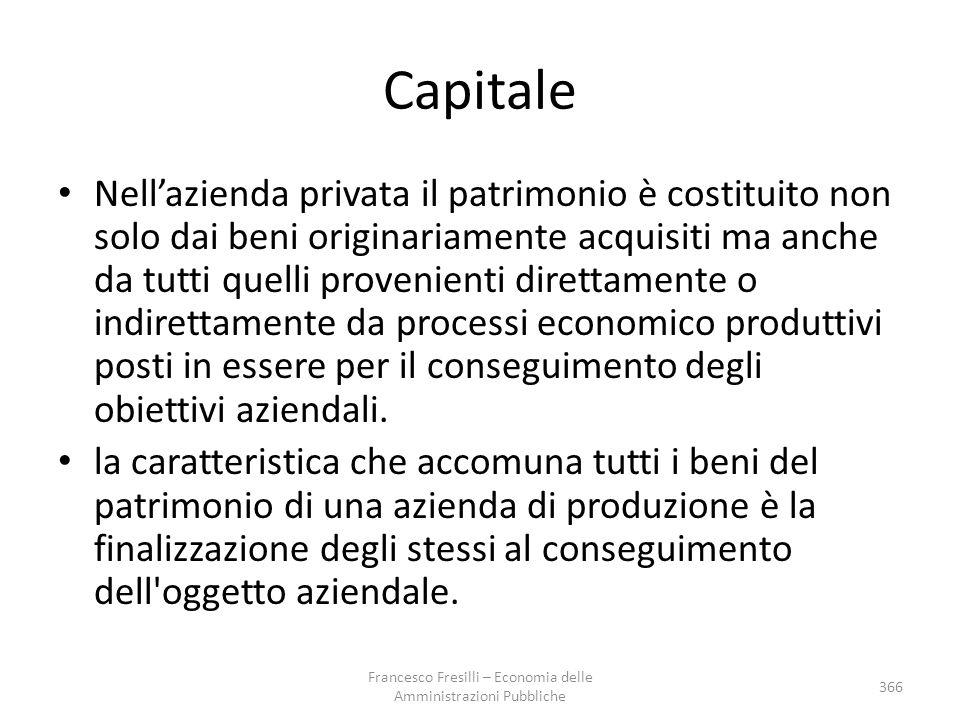 Capitale Nell'azienda privata il patrimonio è costituito non solo dai beni originariamente acquisiti ma anche da tutti quelli provenienti direttamente