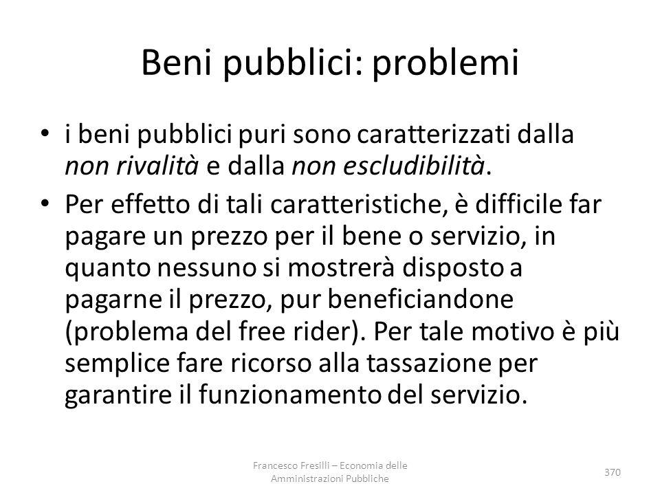 Beni pubblici: problemi i beni pubblici puri sono caratterizzati dalla non rivalità e dalla non escludibilità. Per effetto di tali caratteristiche, è