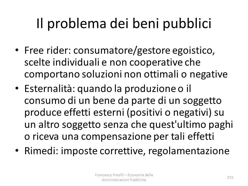 Il problema dei beni pubblici Free rider: consumatore/gestore egoistico, scelte individuali e non cooperative che comportano soluzioni non ottimali o