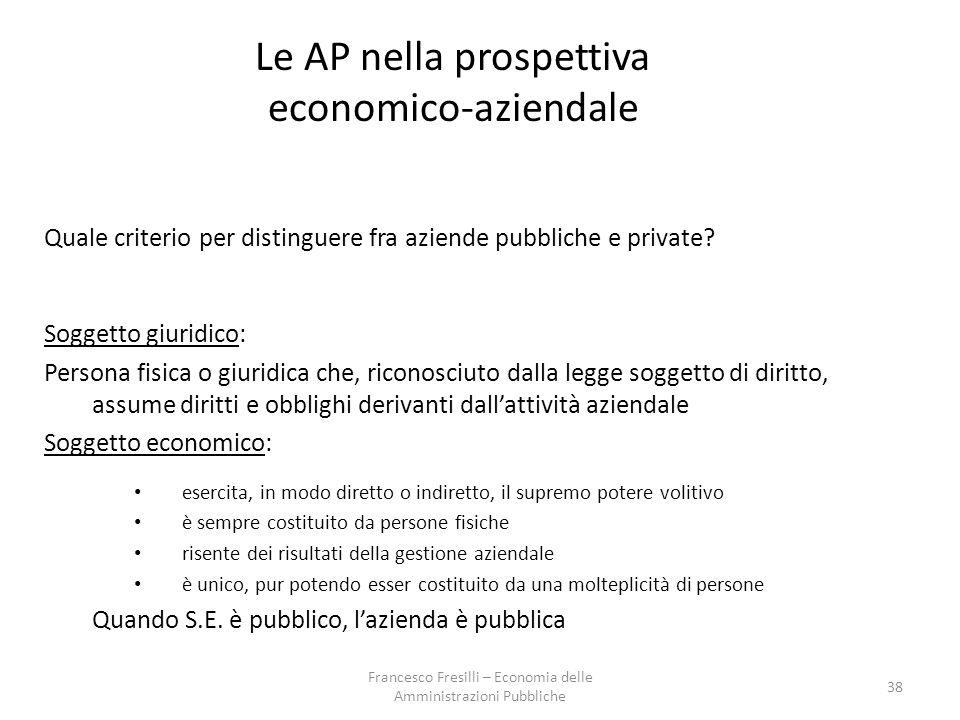 Le AP nella prospettiva economico-aziendale Quale criterio per distinguere fra aziende pubbliche e private.