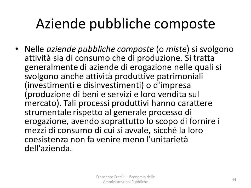 Aziende pubbliche composte Nelle aziende pubbliche composte (o miste) si svolgono attività sia di consumo che di produzione.