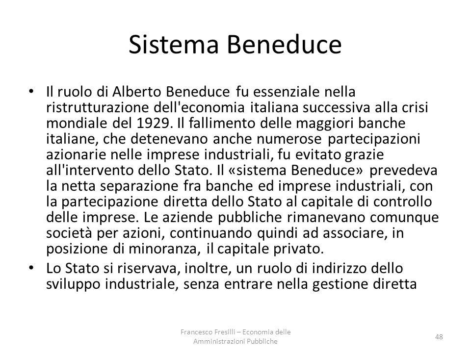 Sistema Beneduce Il ruolo di Alberto Beneduce fu essenziale nella ristrutturazione dell economia italiana successiva alla crisi mondiale del 1929.