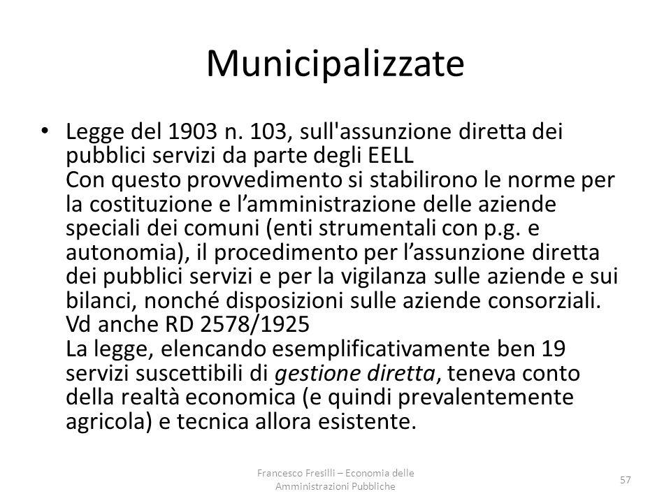 Municipalizzate Legge del 1903 n.
