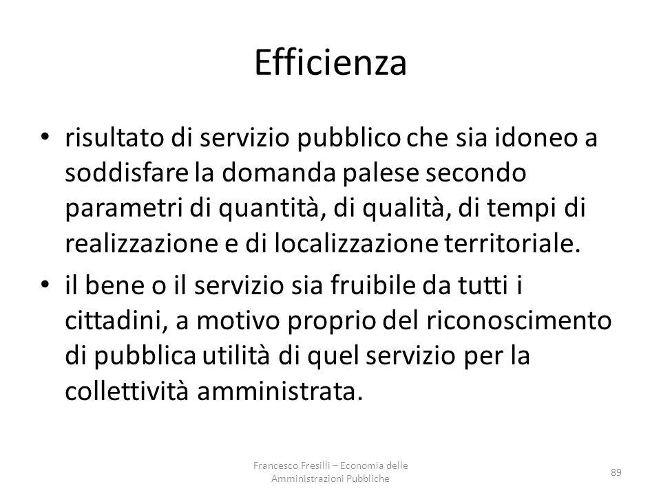Efficienza risultato di servizio pubblico che sia idoneo a soddisfare la domanda palese secondo parametri di quantità, di qualità, di tempi di realizzazione e di localizzazione territoriale.