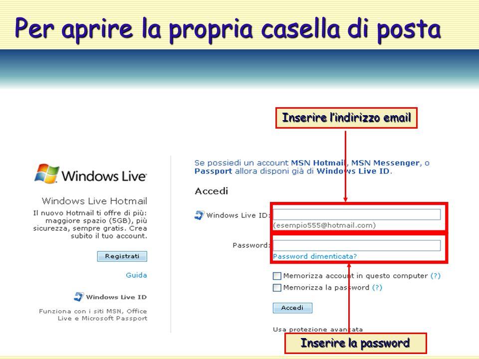 Per aprire la propria casella di posta Inserire l'indirizzo email Inserire la password