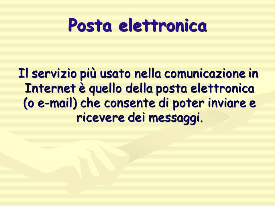 Posta elettronica Il servizio più usato nella comunicazione in Internet è quello della posta elettronica (o e-mail) che consente di poter inviare e ricevere dei messaggi.