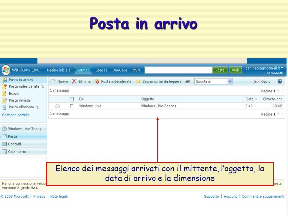 Elenco dei messaggi arrivati con il mittente, l'oggetto, la data di arrivo e la dimensione