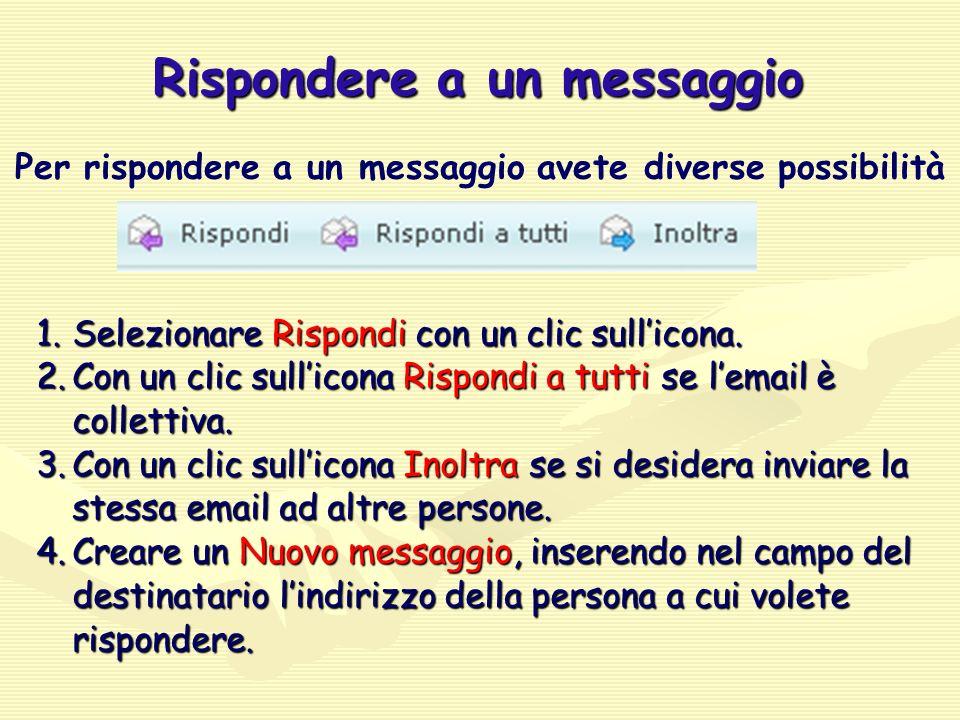 Rispondere a un messaggio Per rispondere a un messaggio avete diverse possibilità 1.Selezionare Rispondi con un clic sull'icona.