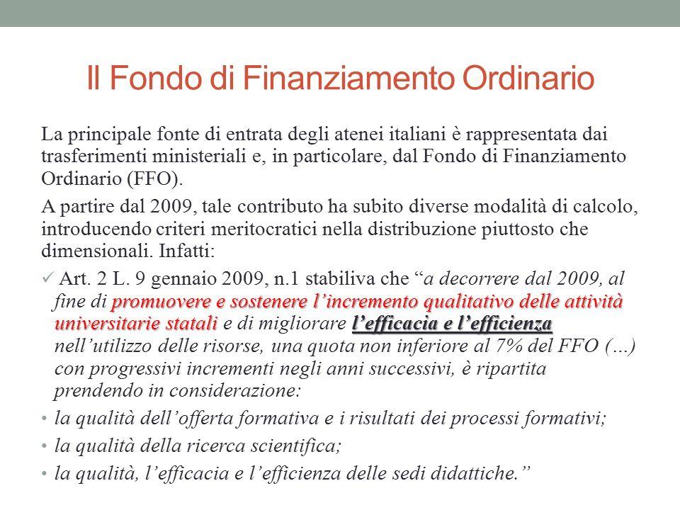 Il Fondo di Finanziamento Ordinario La principale fonte di entrata degli atenei italiani è rappresentata dai trasferimenti ministeriali e, in particol
