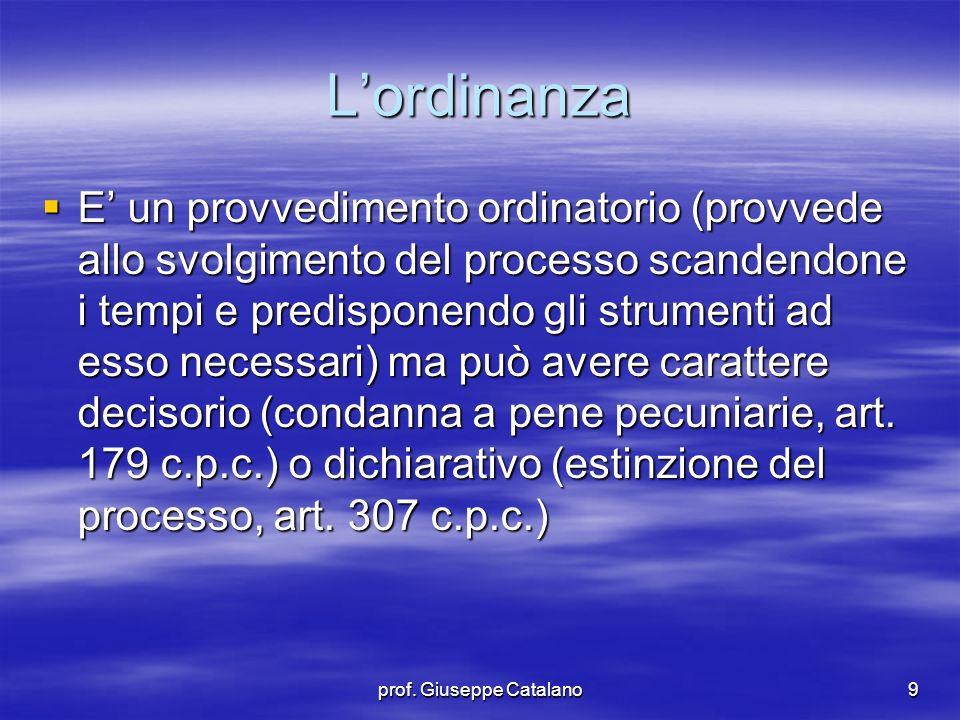 prof.Giuseppe Catalano10  E' succintamente motivata.