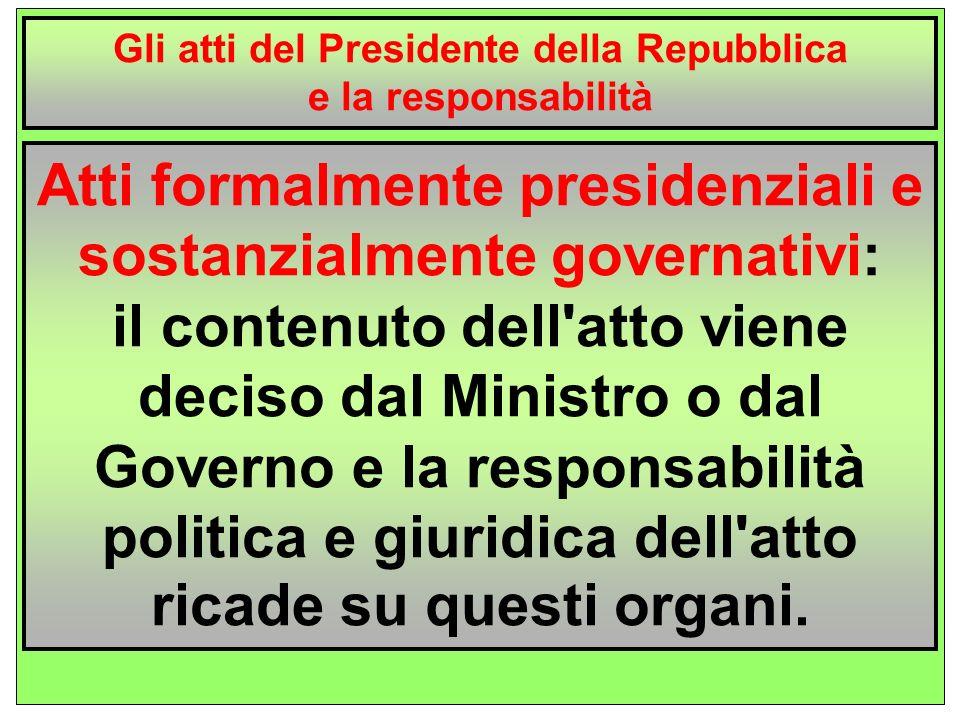 Gli atti del Presidente solitamente sono firmati dallo stesso Presidente e riportano una seconda firma, chiamata controfirma da parte di un membro del Governo (Presidente del Consiglio o Ministri).