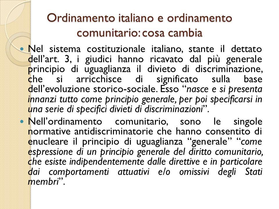 Ordinamento italiano e ordinamento comunitario: cosa cambia Nel sistema costituzionale italiano, stante il dettato dell'art. 3, i giudici hanno ricava